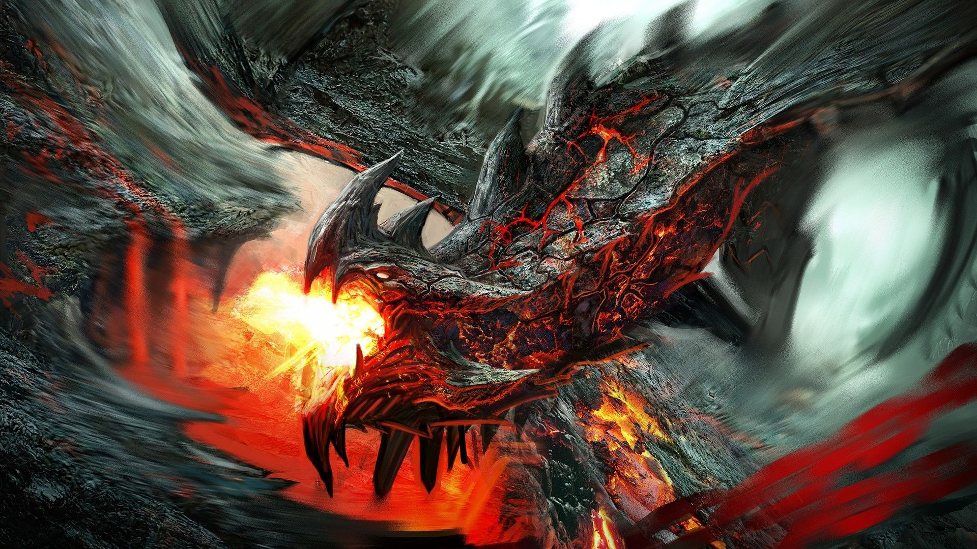 Fire Breathing Lava Dragon Fantasy Hd Wallpaper 1920x1080