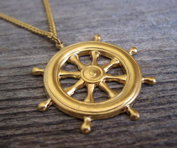 Mens necklace gold plated ship steering pendant mens jewelry mens necklace gold plated ship steering pendant mens jewelry sailor jewelry nautical aloadofball Image collections