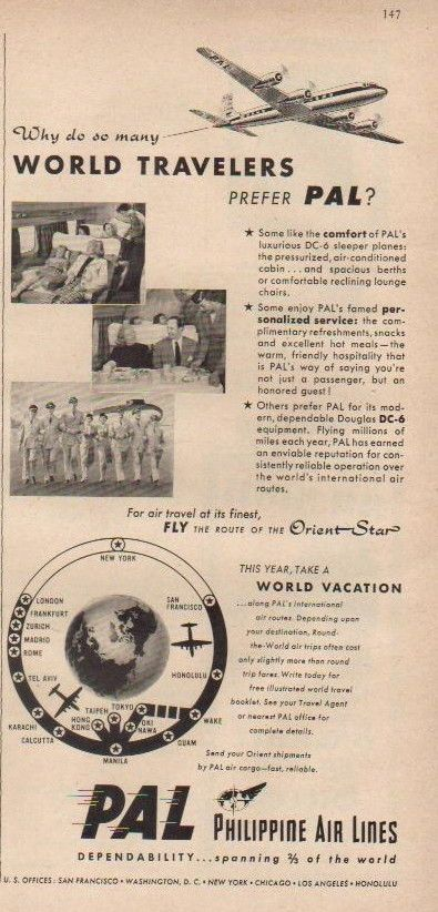 1952 Philippine Airlines Route Map Ad