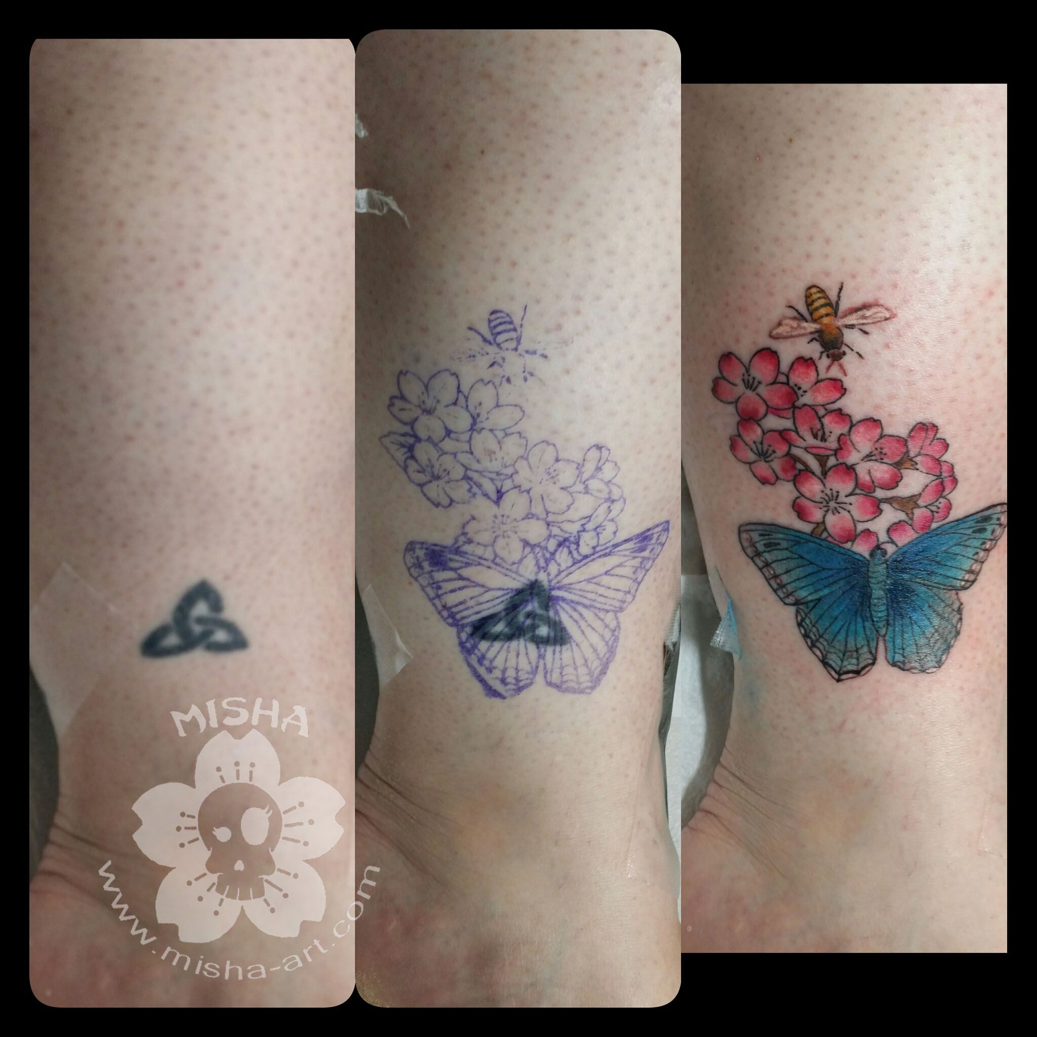 Blue Morpho Butterfly And Cherry Blossoms Cover This Old Tattoo