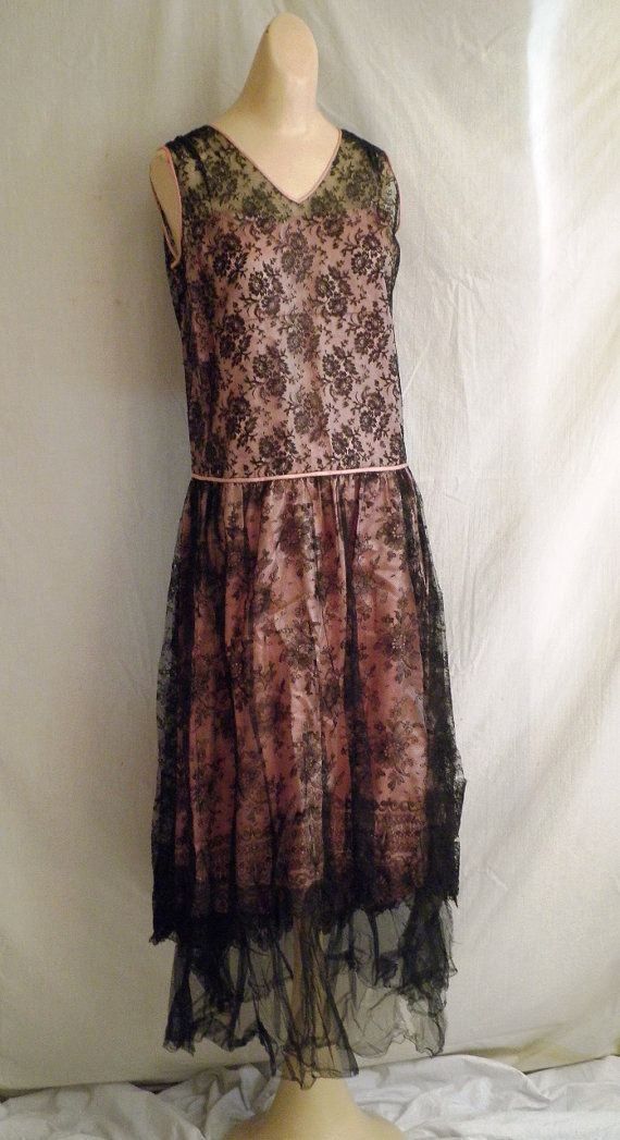1920s Dress Vintage Flapper 1920s Vintage Silk and Lace Party Dress ...