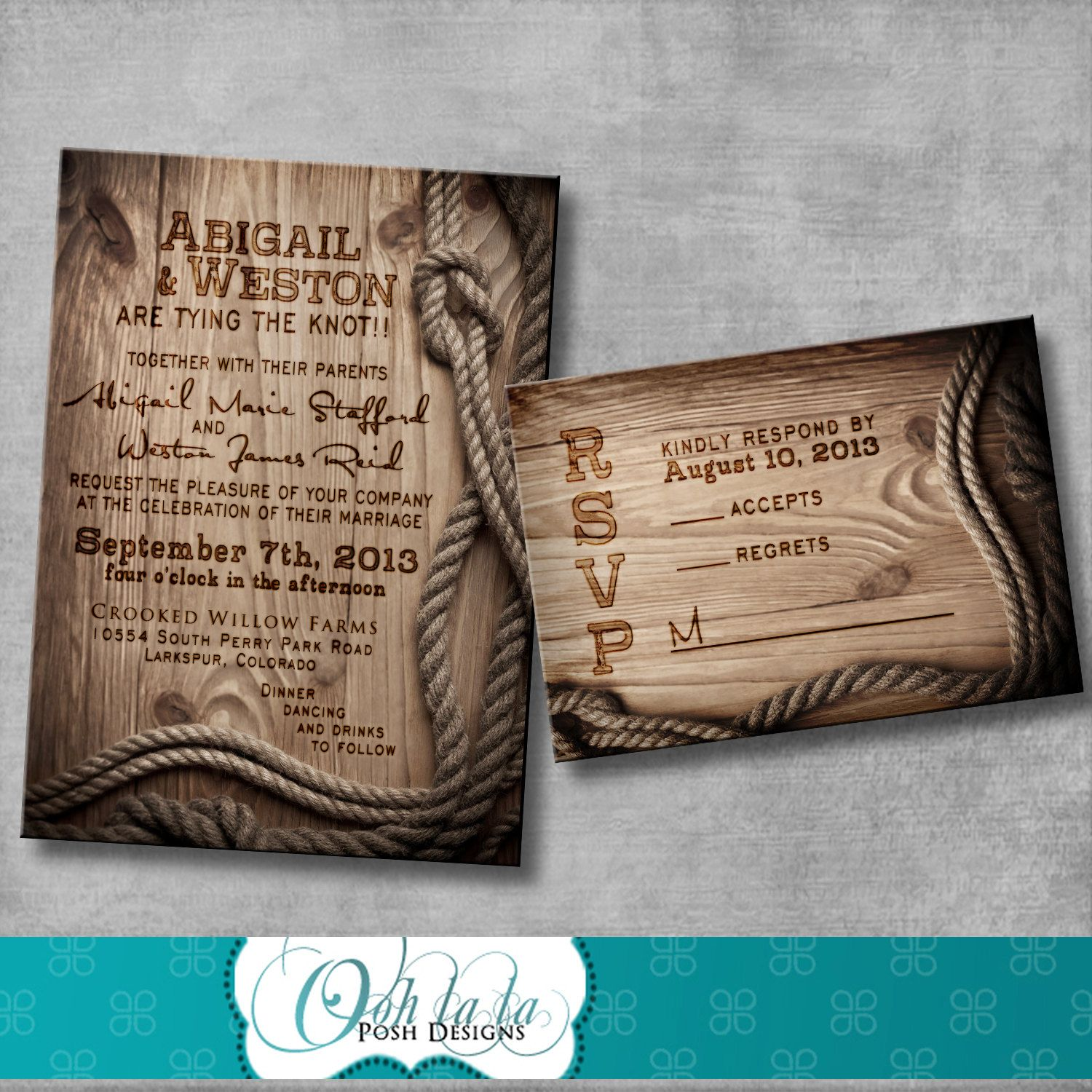 Sending Wedding Invitations Post Office: Rustic Wedding Invitation With Matching Response Card