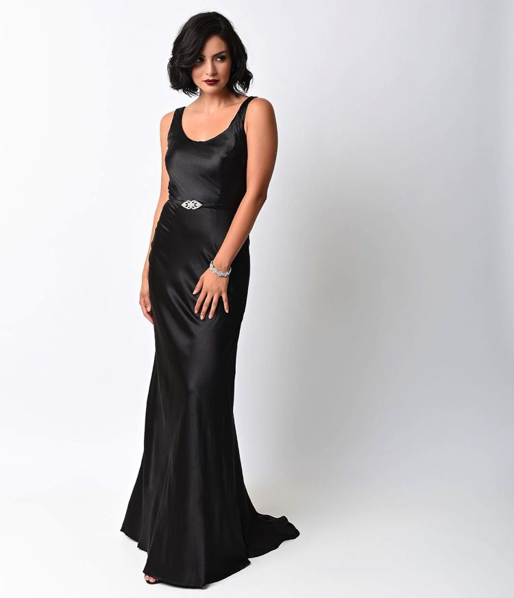 Black satin 1930s Hollywood gown | Vintage Fashion - 1910s-1940s ...