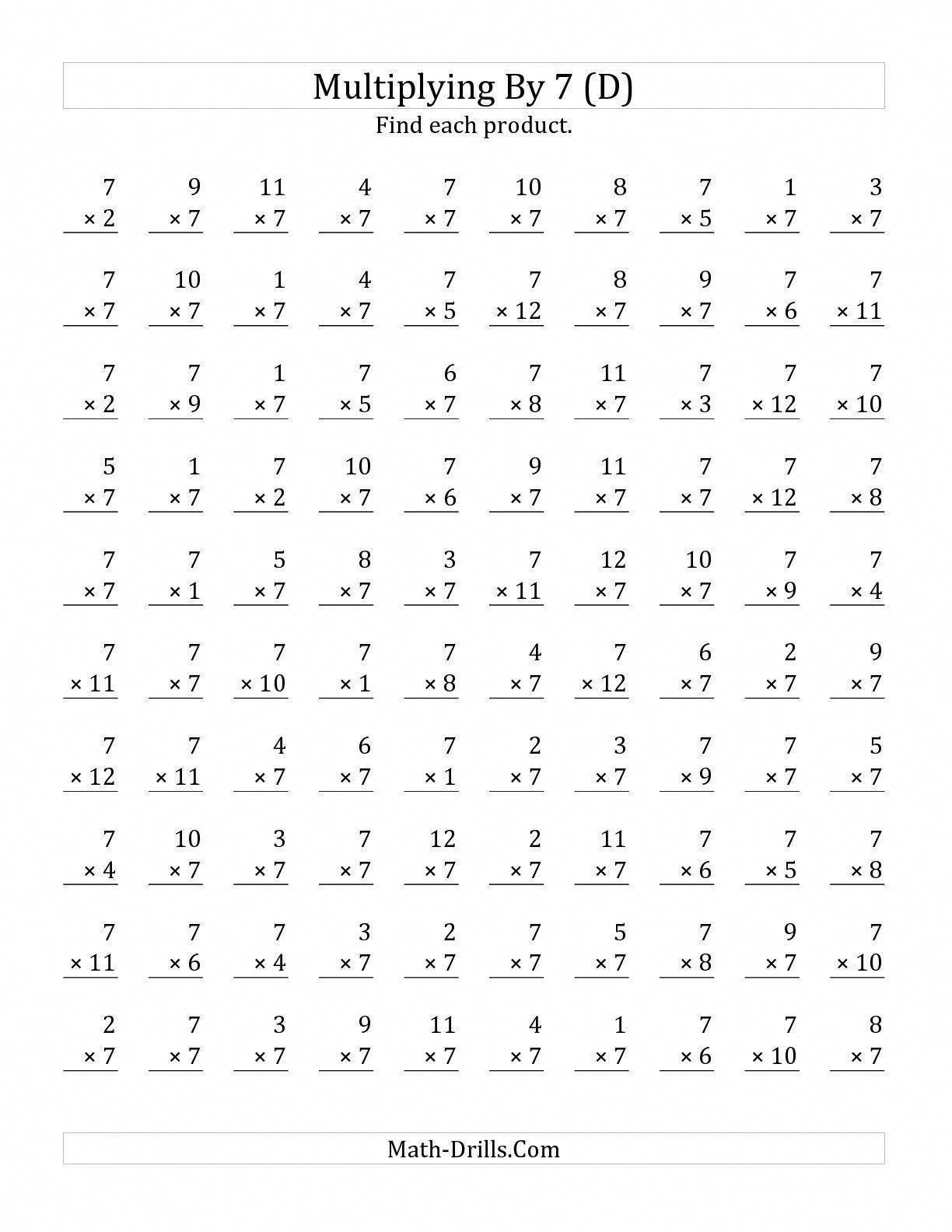 The Multiplying 1 To 12 By 7 D Math Worksheet From The Multiplication Worksheet Page A Fichas De Exercicios De Matematica Exercicios De Matematica Matematica