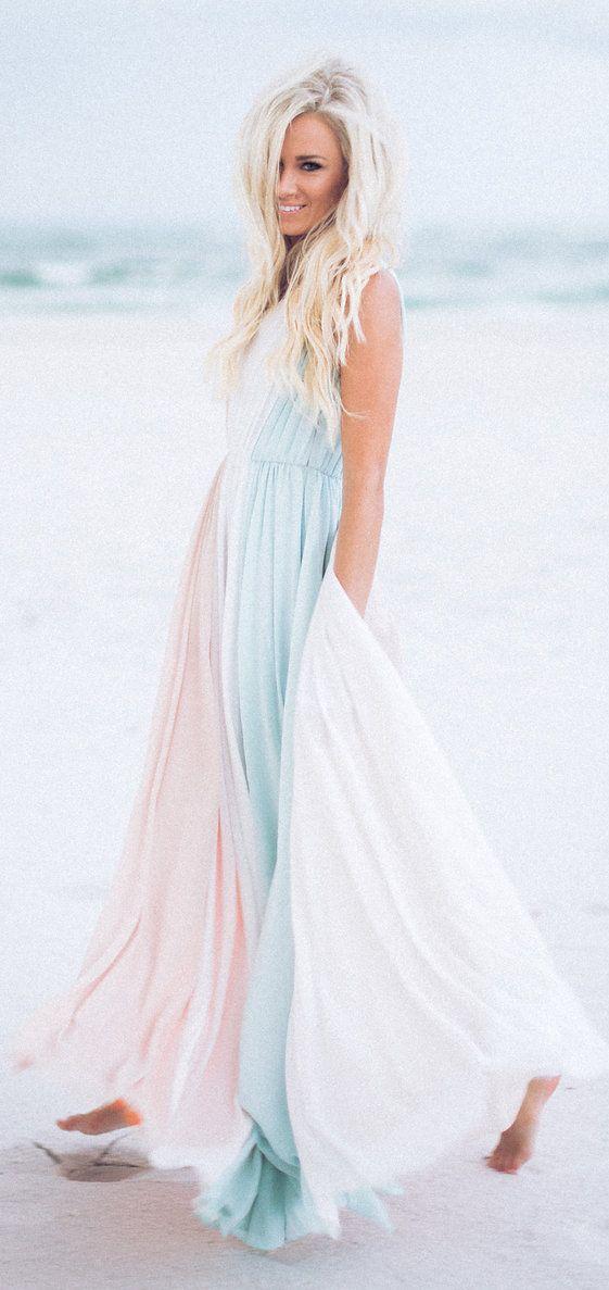 0f7fc13e30f Mckenna Bleu Pastel Tones Beach Maxi Dress Fall Inspo