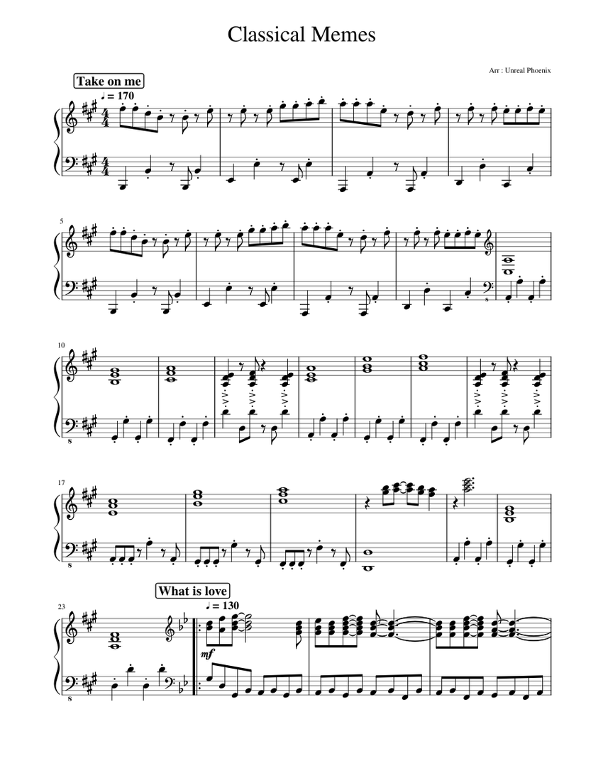 Print And Download In Pdf Or Midi Classical Memes Some Of The Most Known Meme Piano Average Level 1 Take On Me Aqua Barbie Girl Rick Astley Aqua Barbie