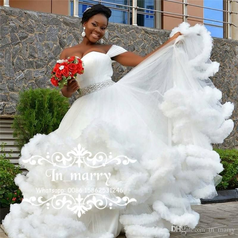 Bellanaija Nigeria African Wedding Dresses 2017 Ball Gown Off Shoulder Crystal Beaded Sash