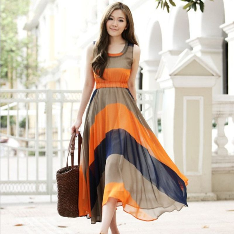 Summer Casual Dress: Chromatic Stripe Summer Casual Dress ...