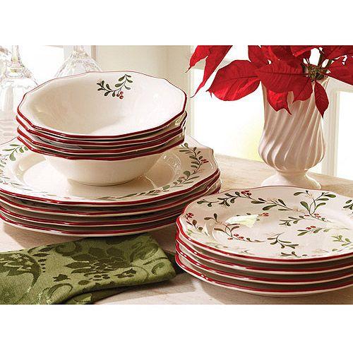 Better Homes And Gardens Christmas Mistletoe 12 Piece Dinnerware Set Christmas Dinnerware Sets Christmas Dishes Sets Christmas Dinnerware