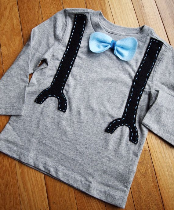 bow tie with suspenders shirt by mamabirdsboutique on Etsy, $17.00