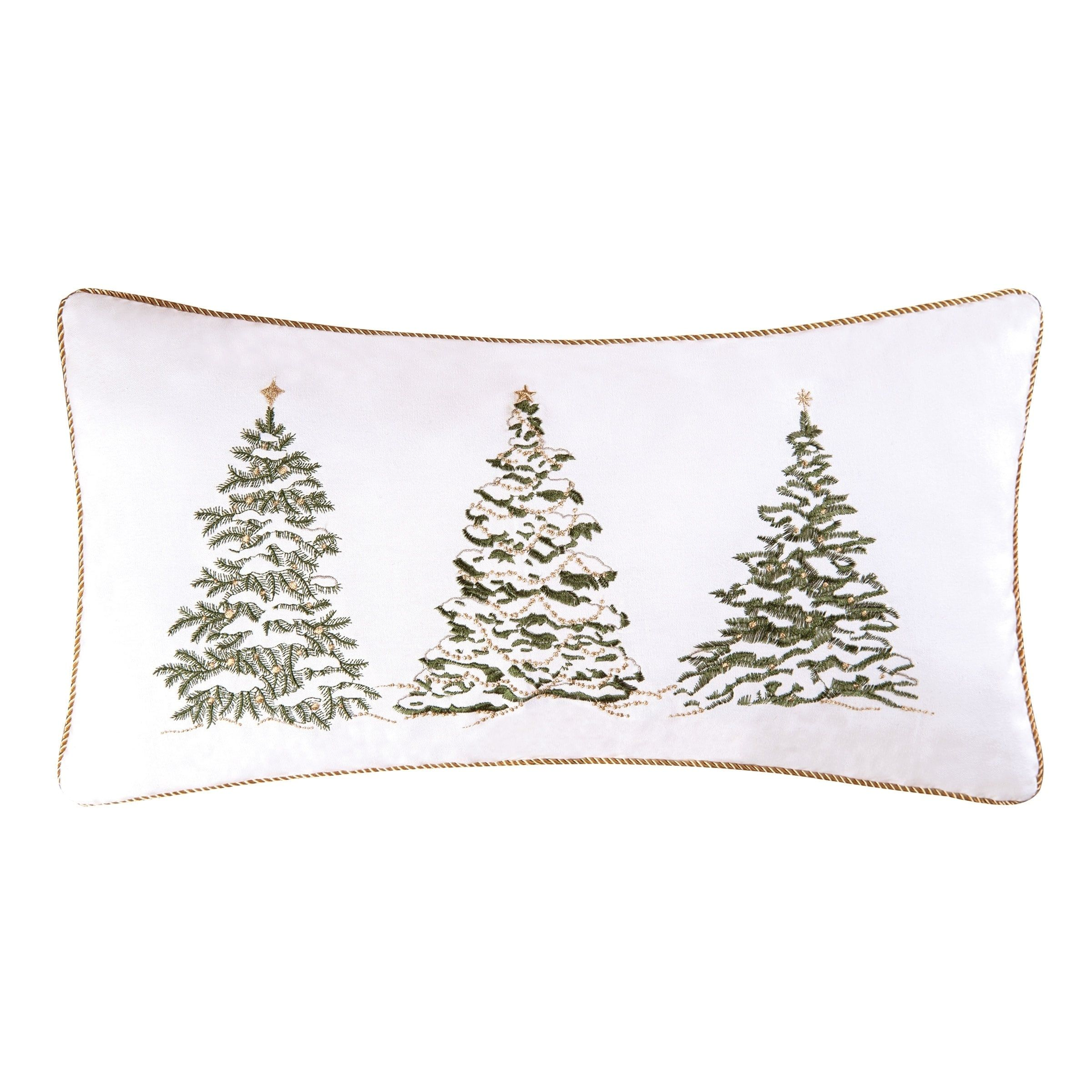 Enterprises Golden Greenery Embroidered Pillow 12x24 Multi Throw Pillows Christmas Embroidered Pillow Embroidered Throw Pillows