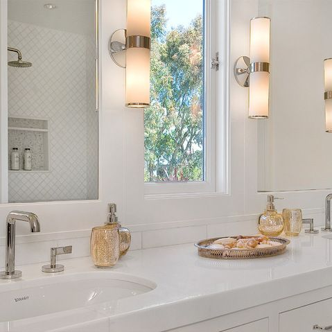 Window Between The Vanity Mirrors. Bathroom LaundryMaster  BathroomTransitional ...