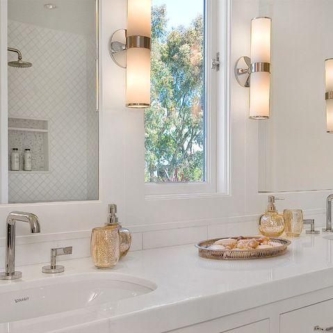 Window Between The Vanity Mirrors Bathroom Bathroom