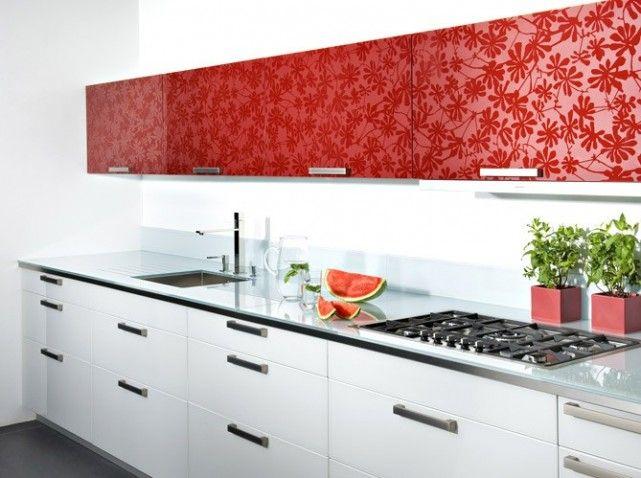 Facade meuble cuisine rouge fleurs CUISINE Pinterest House