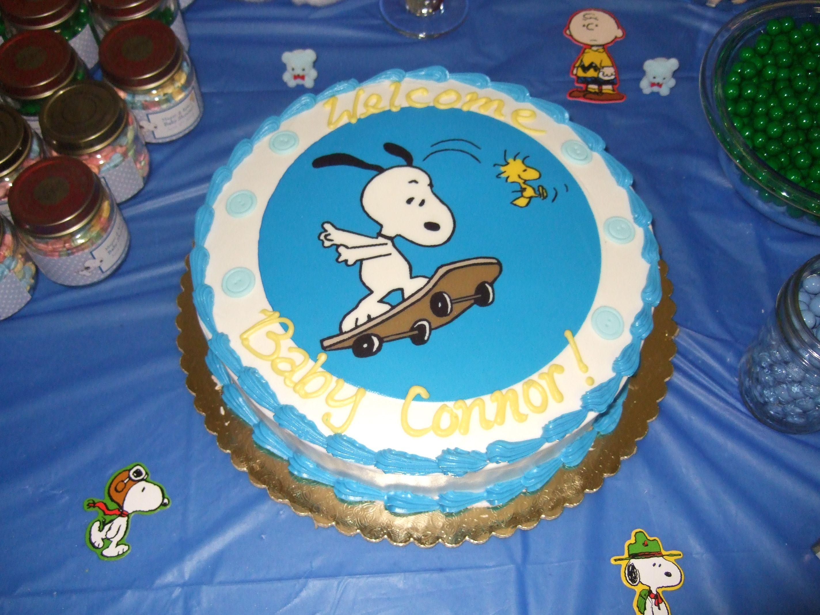Skateboarding Snoopy Shower Cake