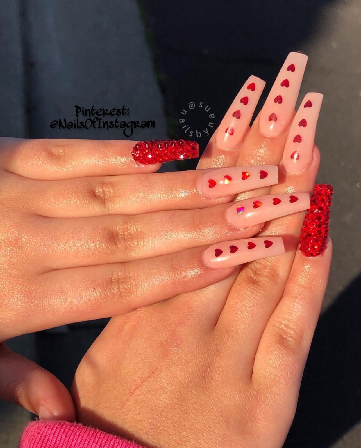 Long Coffin nails heart decals red bling – Long Nail Designs - Water