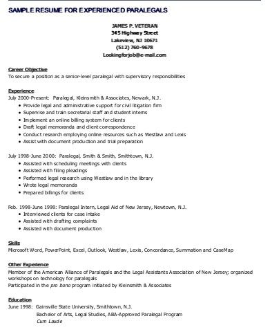 Sample resume for experienced Paralegals Career Pinterest - sample resume experienced