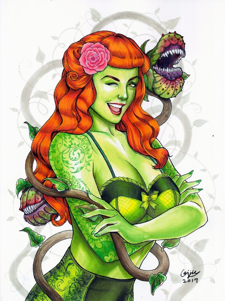 bombshell poison ivy by eric chen batman overload pinterest rh pinterest com Poison Ivy Drawing Poison Ivy Drawing