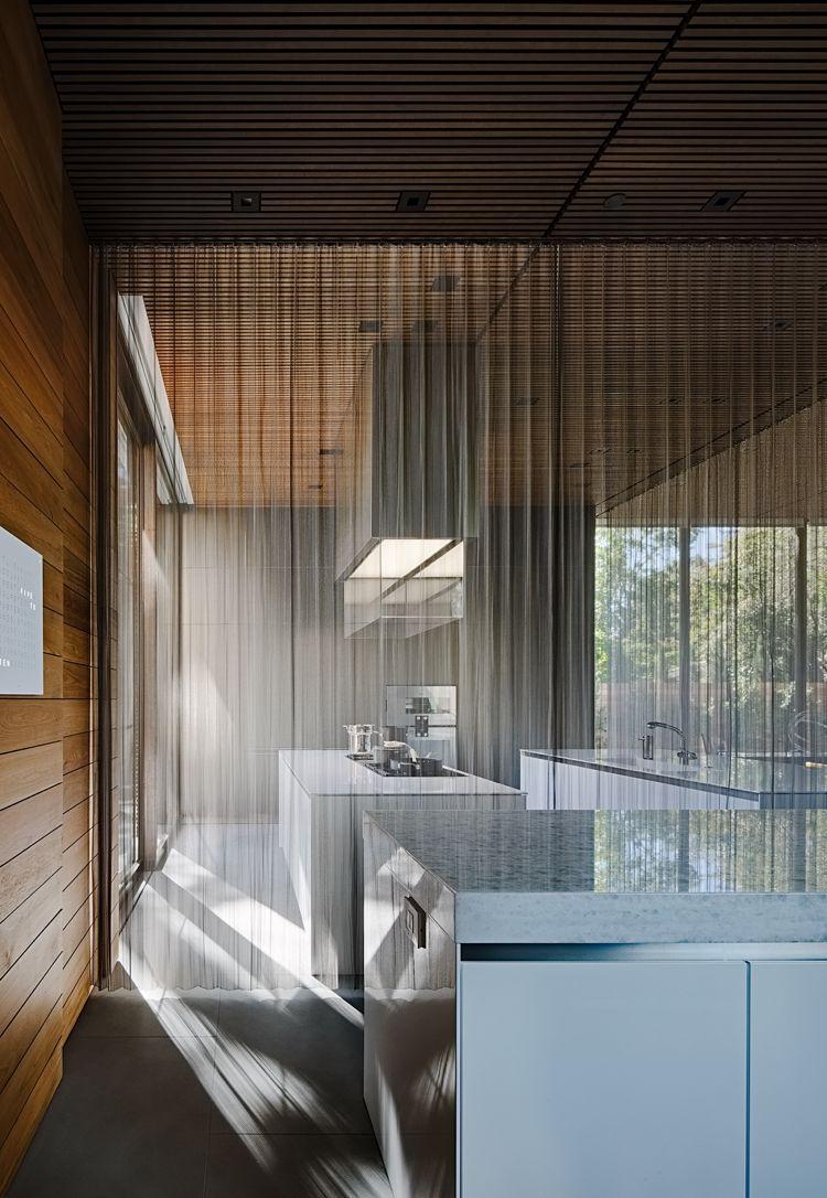 Dekorative Ziegelwand Kuche Gardinen Raumteiler Moderne
