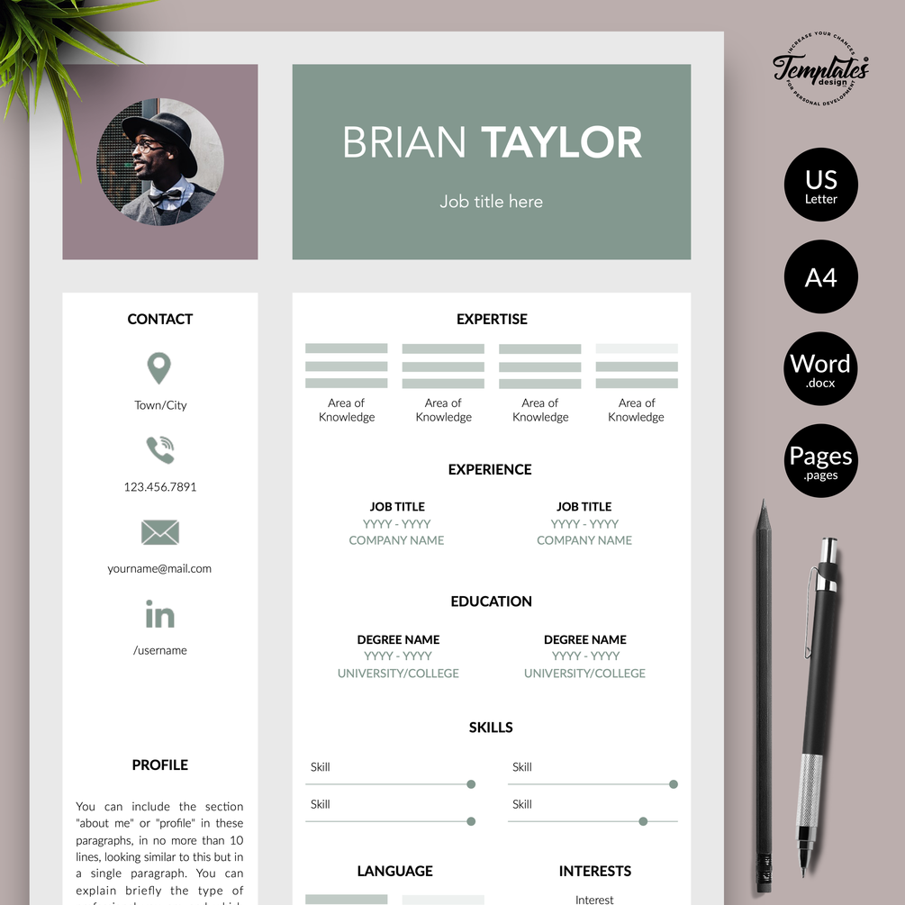 """Brian Taylor"" Modern Resume CV Template for Word & Pages"