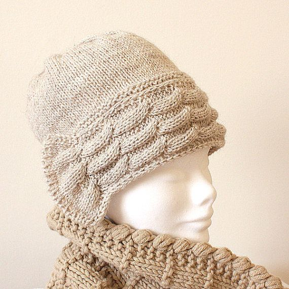 Knitting Pattern Hat #2/cable pattern/alpaca yarn (pdf file) (sizes ...
