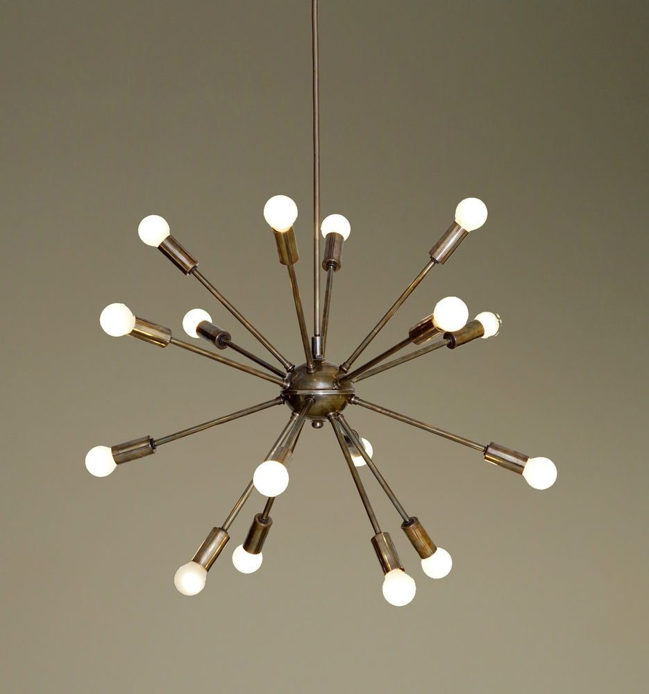 mid century modern patina brass sputnik chandelier - 16 arms
