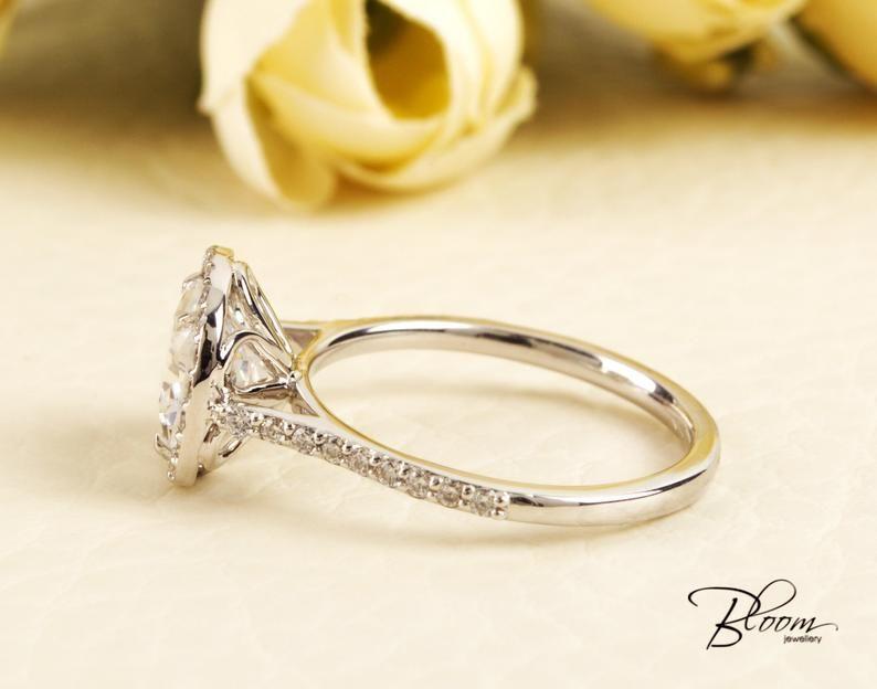 Cushion Engagement Ring 14K Solid White Gold Diamond Simulant Halo Ring