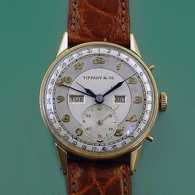 Vintage 40s Tiffany Co 14k Yellow Gold Triple Calendar Watch By