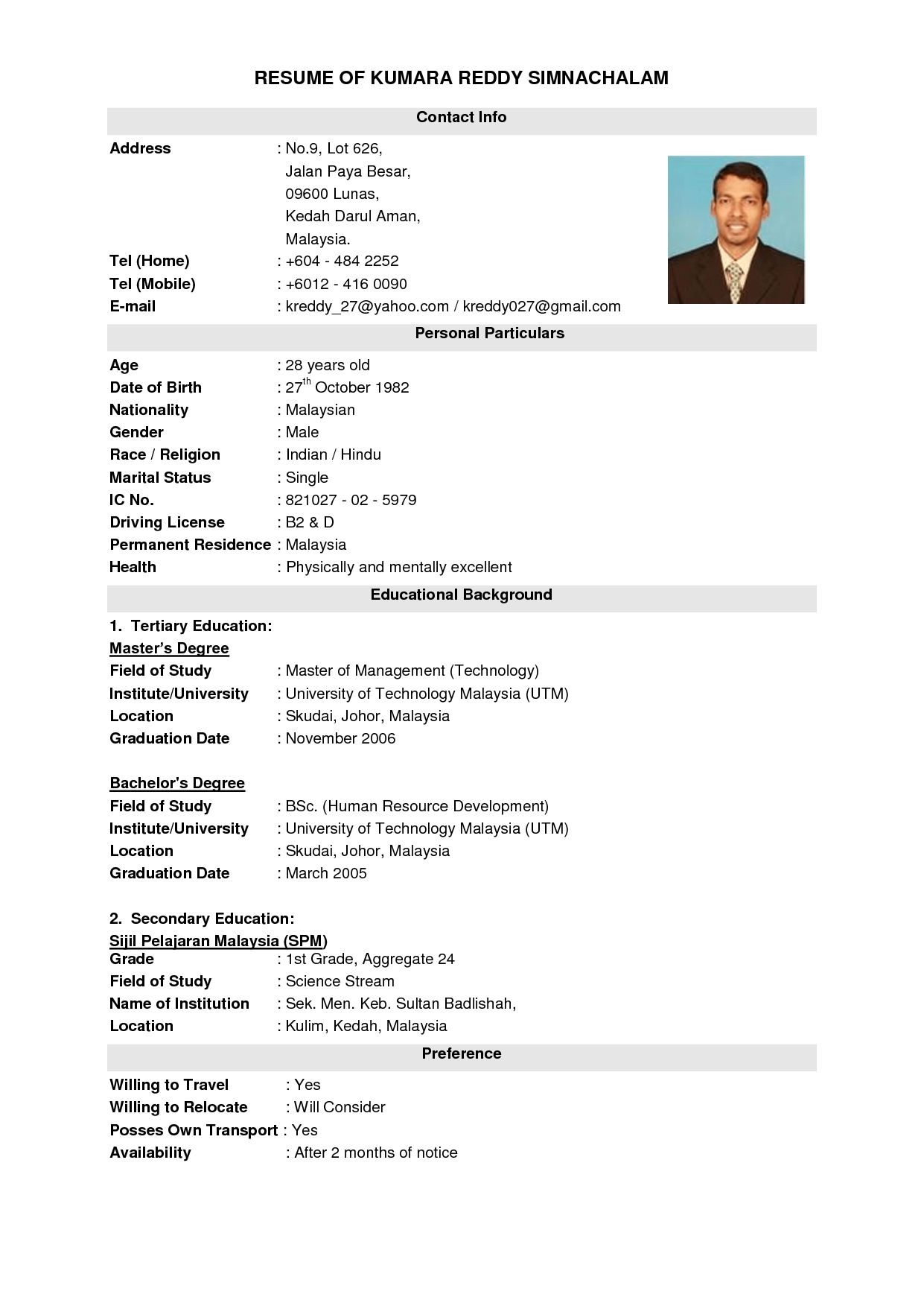 Example Of Student Resume In Malaysia