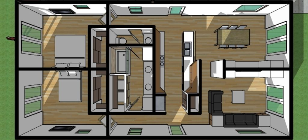 Modern style house plan 2 beds 1 baths 1250 sq ft plan for 1250 square feet house