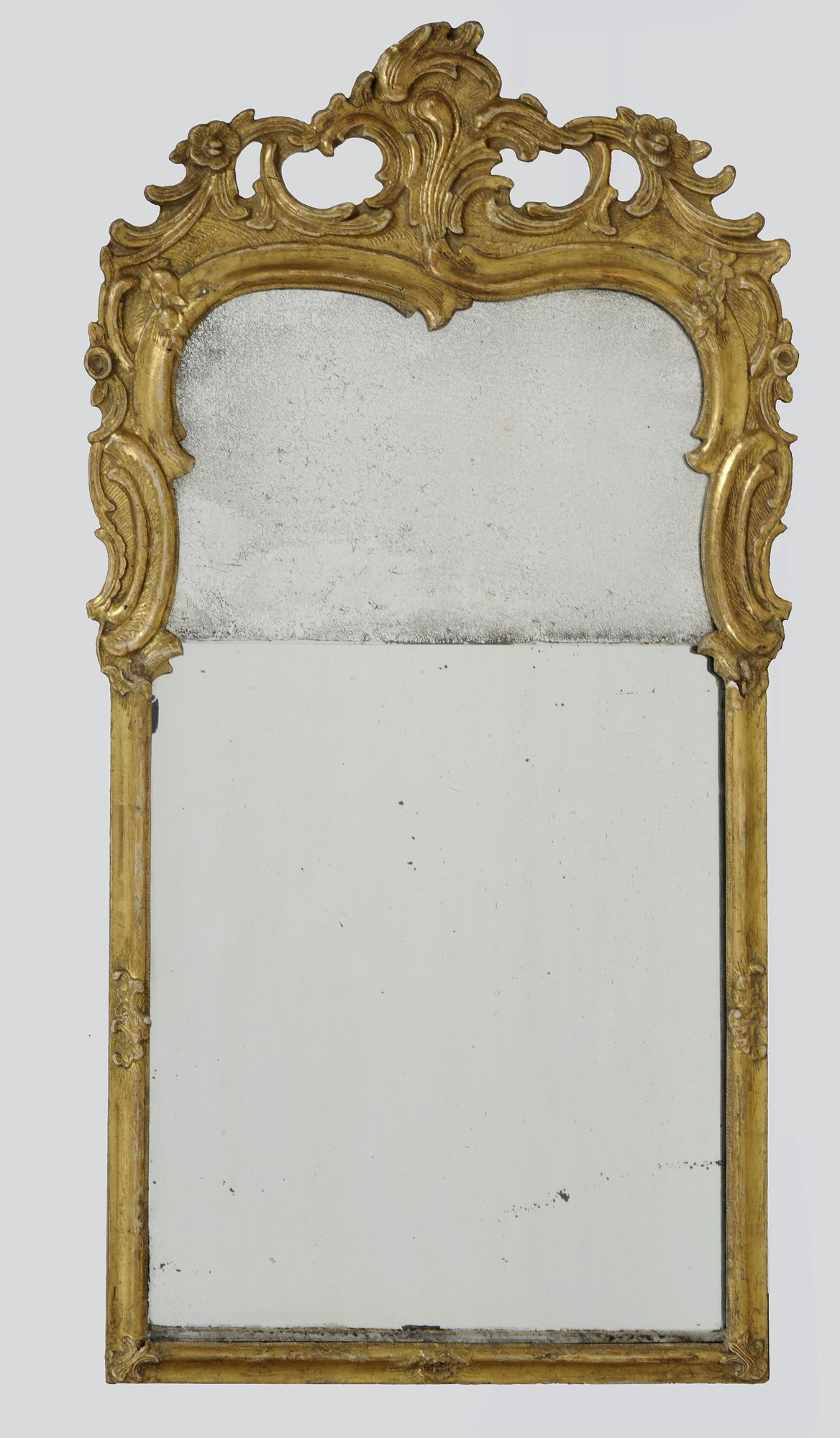 Dutch Rococo giltwood arched crest pier mirror, the split mirror plate enclosed by a frame carved and pierced with multiple C-scrolls and flowerheads. The upper mirror is original.      Dutch Circa 1760     Height: 34.5"