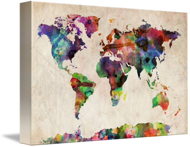 World map urban watercolor by michael tompsett art sites antique world map urban watercolor by michael tompsett gumiabroncs Image collections