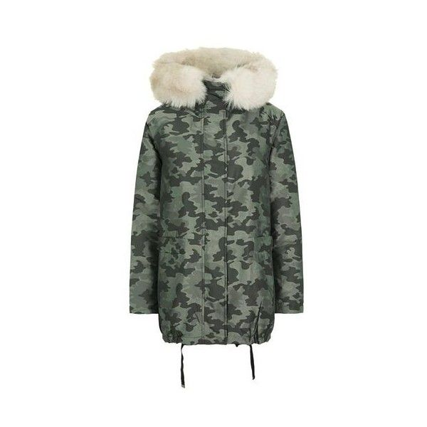 6c030ff2010a1 Topshop Metallic Camouflage Parka (832.335 IDR) ❤ liked on Polyvore  featuring outerwear, coats, grey, camouflage parka, topshop coats, grey parka  coat, ...