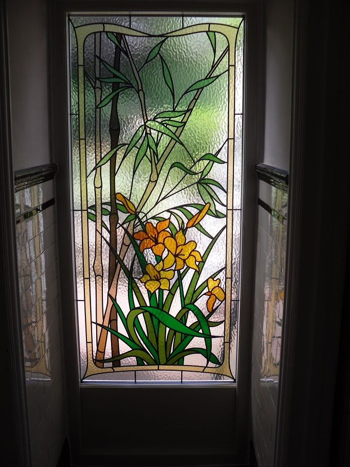 Bamboo Glass Panels : Bamboo and lily replica stained glass for the love of