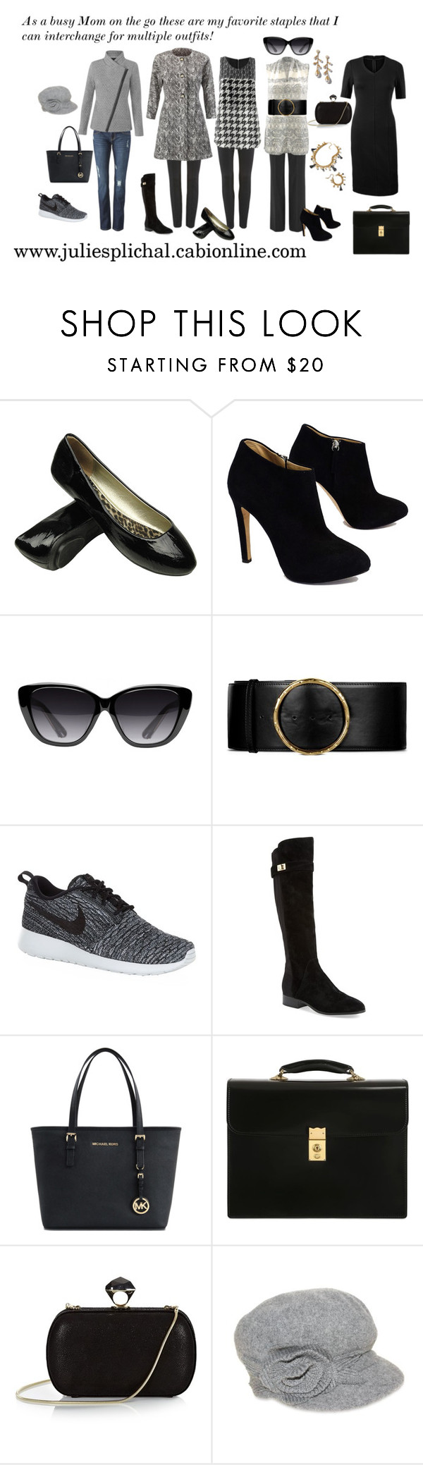 """As A Busy Mom On The Go These are my staples!"" by julie-splichal ❤ liked on Polyvore featuring CAbi, Giuseppe Zanotti, Elizabeth and James, STELLA McCARTNEY, NIKE, Nicole Miller, Michael Kors, OHBA, DVF and Nine West"