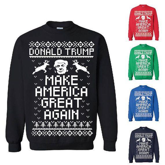 donald trump make america great again ugly christmas sweater christmas sweatshirt custom screen printing on gildan - Custom Christmas Sweater