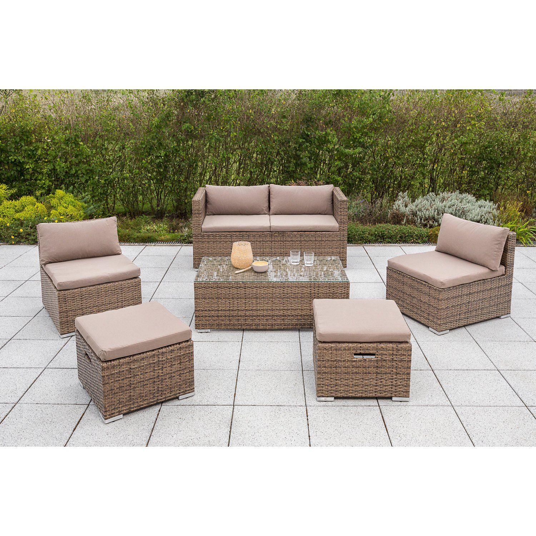 Merxx Lounge Set Vigo 6 Teilig Polyrattan Natur Kaufen Bei Obi Polyrattan Sitzgruppe Lounge Gartenmobel Lounge Mobel