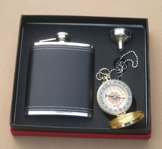 9bdcb7976f99 7 oz Liquor Stainless Steel black leather Hip Flask with Compass gift set  for outdoor  00460037 - US 32.00 - DAYJOYBUY