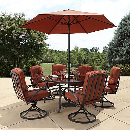 Grand Resort Oak Hill 60 inch Round 7pc Cushion Dining Set | River ...