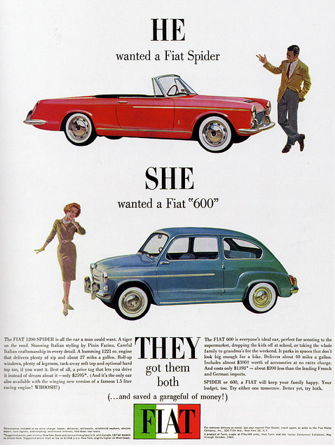 1960s Advertising - Magazine Ad - Fiat Spider & 600