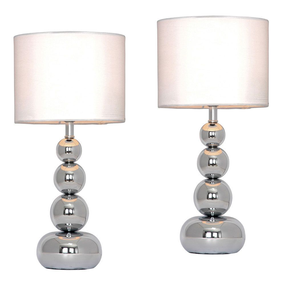 Details about pair of modern silver chrome white touch bedside details about pair of modern silver chrome white touch bedside lounge table light lamps geotapseo Gallery