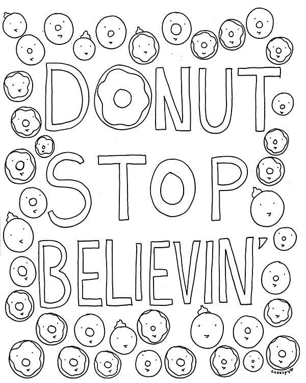 Free Coloring Book Page for Grown-Ups: Donut Stop Believin ...