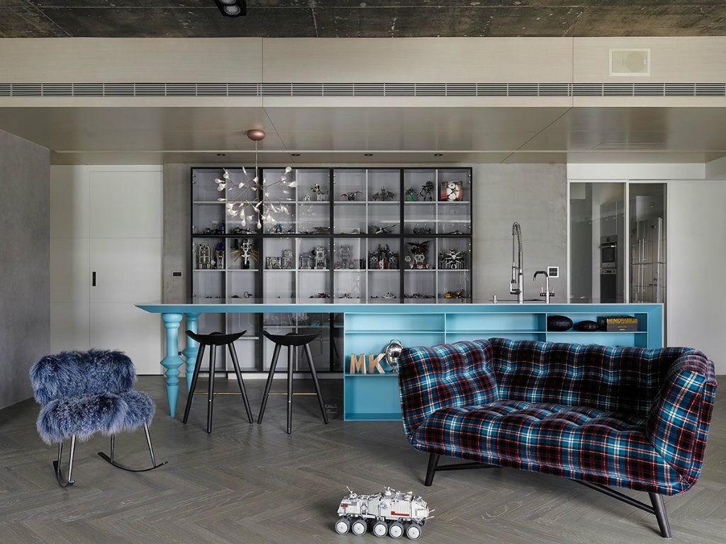 Modern Apartment Renovation In Taipei Taiwan By Ganna Design Vitra Furniture Blue Living Room Apartment Renovation