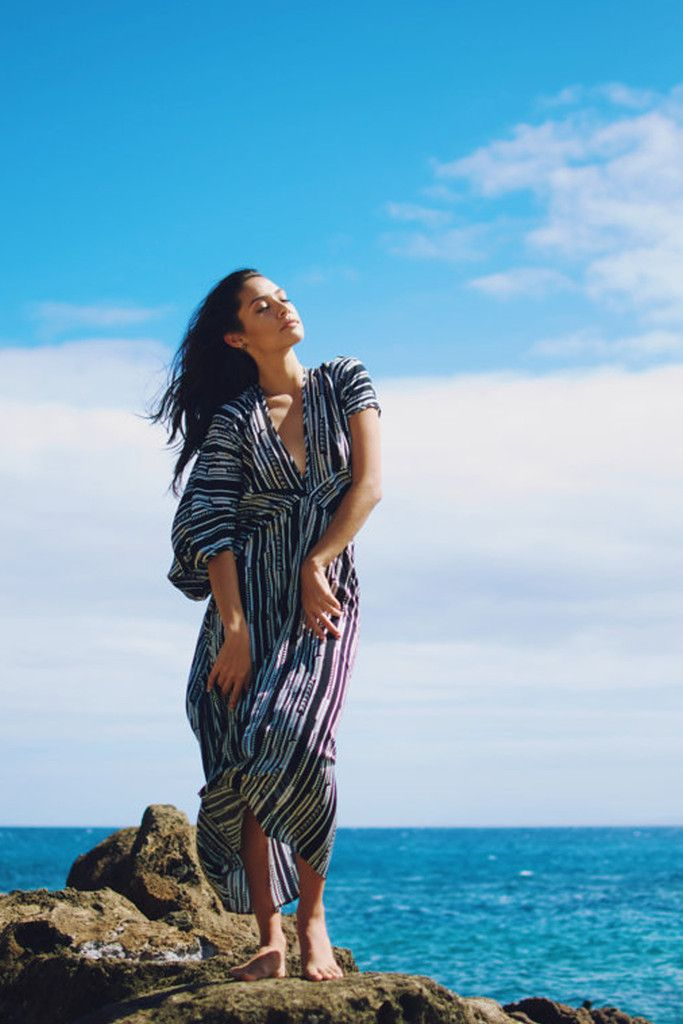 Zeyla Kaftan Tunic | Modern Bohemian Printed Draped Tunic Dress | Handmade in Honolulu, Hawaii