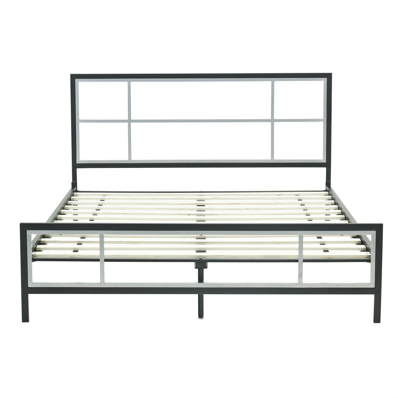 Full Size Modern Metal Platform Bed Fame With Headboard Footboard ...