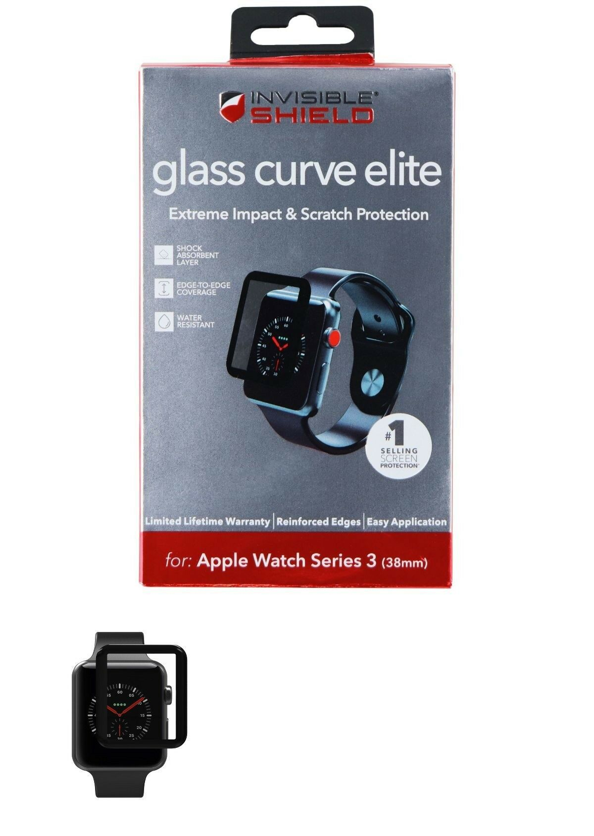 Screen Protectors 182066 Zagg Glass Curve Elite Screen Protector For Apple Watch Series 3 38mm B Apple Watch Series 3 Apple Watch Series Apple Watch Case