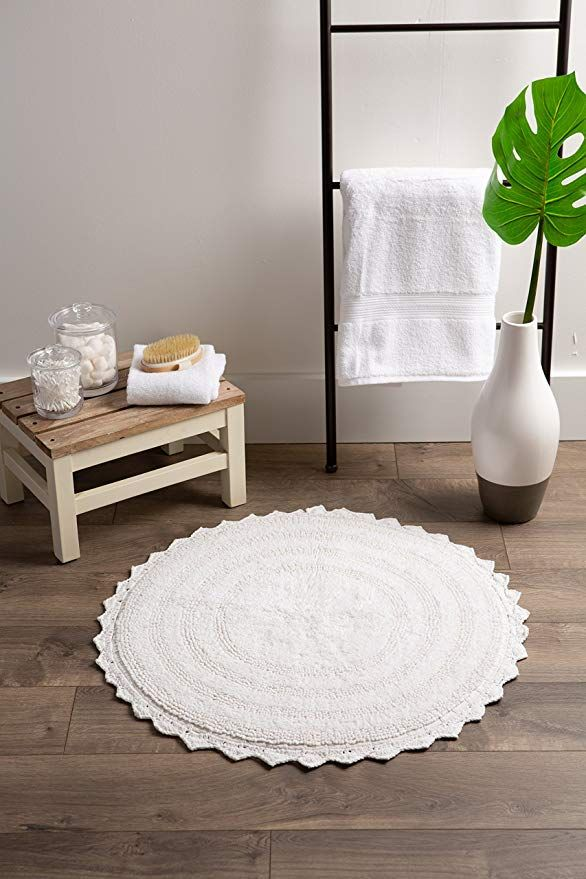 White Round Crochet Bath Mat Or Rug