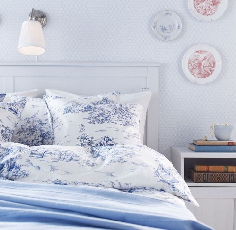 Ikea emmie land blue white toile twin duvet cover french for Housse de lit ikea