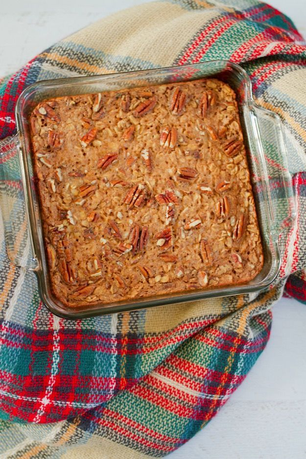 Maple Pecan Baked Oatmeal is filled with wholesome oats, studded with chopped pecans and lightly sweetened with pure maple syrup. Fancy enough to serve for brunch, but awesome as a make-ahead breakfast for the week as well.