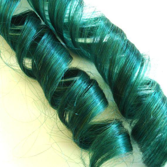 Blue Hair Extensions Grassy Green Clipin Fake Hair By Ikickshins